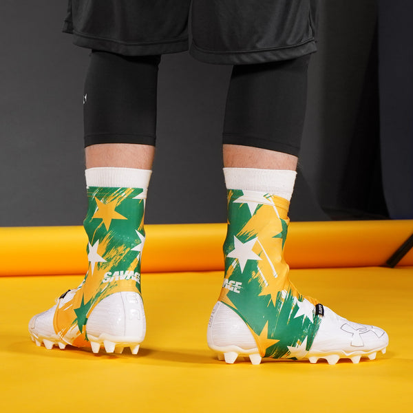 Savage Word Stars Yellow Green White Spats / Cleat Covers