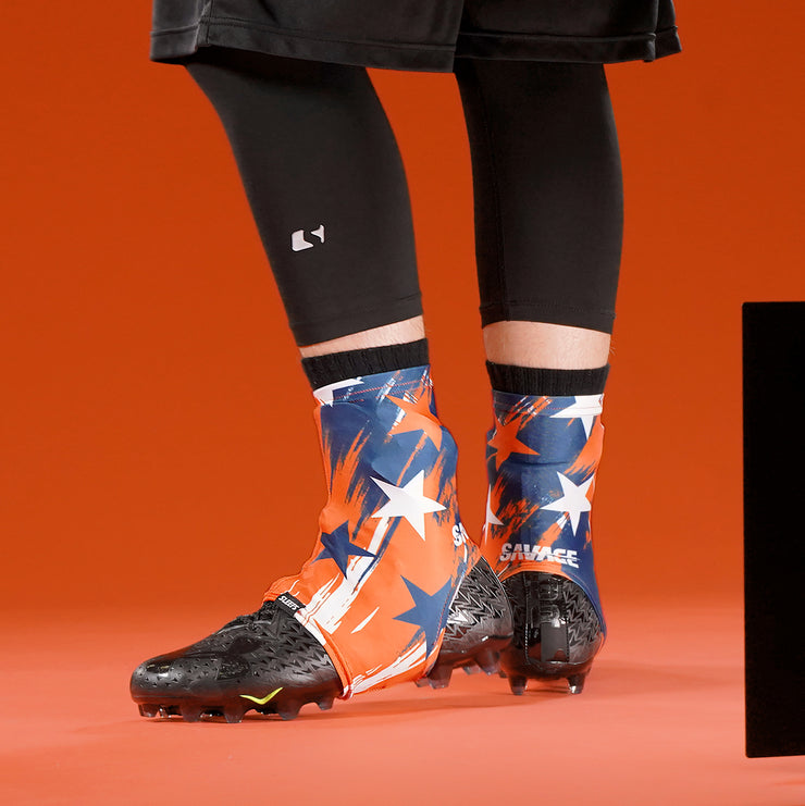 Savage Word Stars Orange Navy White Spats / Cleat Covers