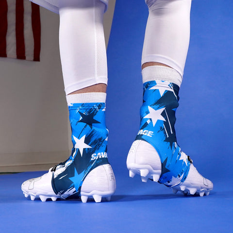 Savage Stars Navy Blue White Spats / Cleat Covers