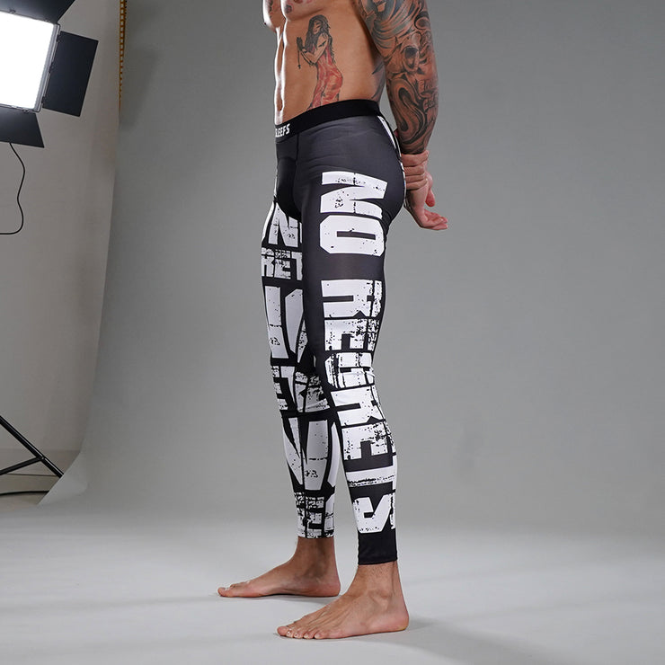 No Regrets Black White Tights for Men