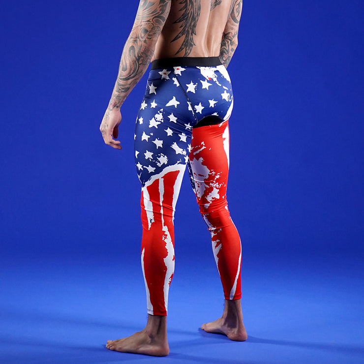 Watercolor USA Flag Tights for Men