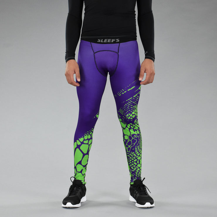 Snake Skin Purple Green Tights for men