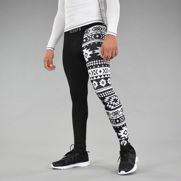 Half Black White Aztec Tights for men