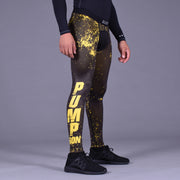 Pump Iron Bright Yellow Black Tights for Men