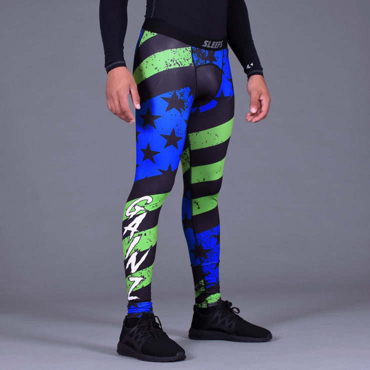 Gainz USA Blue Green Tights for men