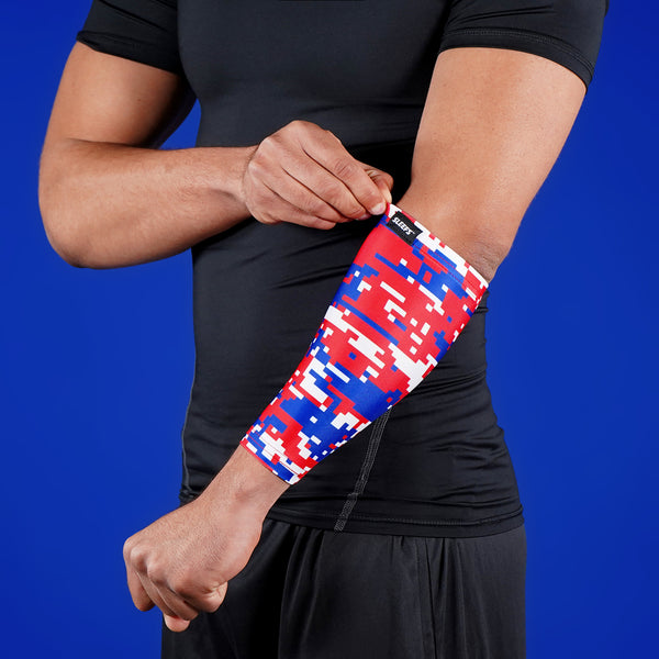 Digi Camo Red White Blue Forearm Compression Sleeve