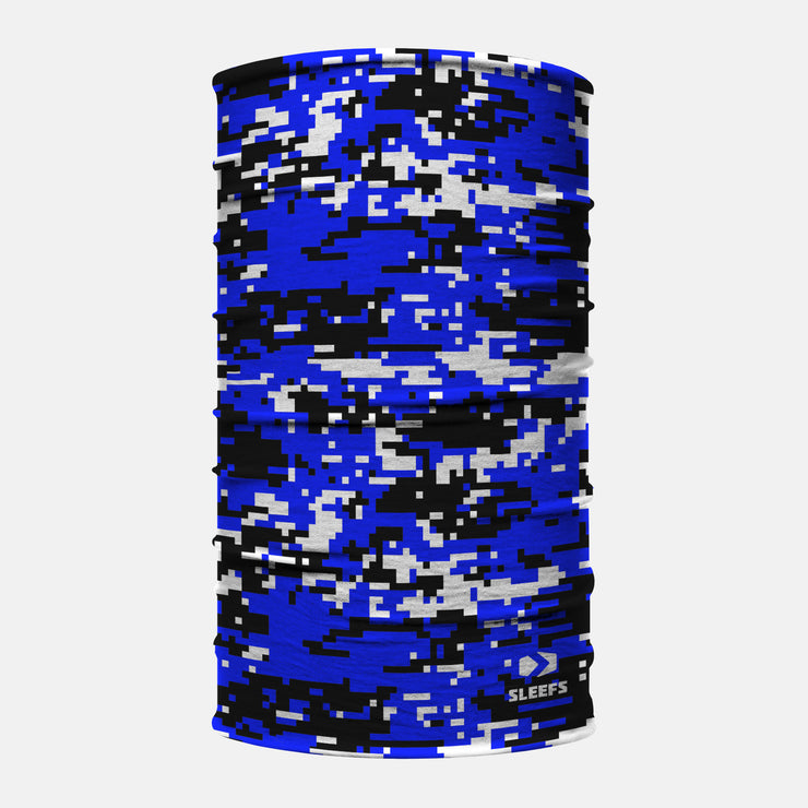 Digital Camo Blue Black White Neck Gaiter