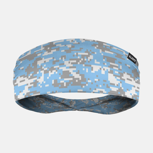Digital Camo Blue Gray White Headband