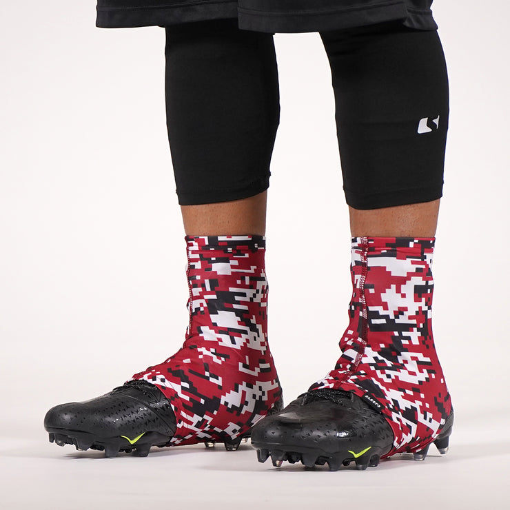 Digital Camo Cardinal Red Black White Spats / Cleat Covers