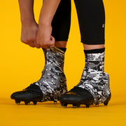Digital Camo Gray Black White Spats / Cleat Covers