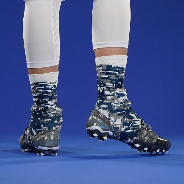 Digital Camo Gray Navy White Spats / Cleat Covers