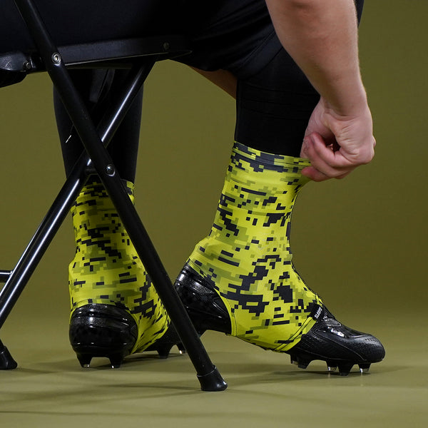Digital Camo Lime Yellow Spats / Cleat Covers