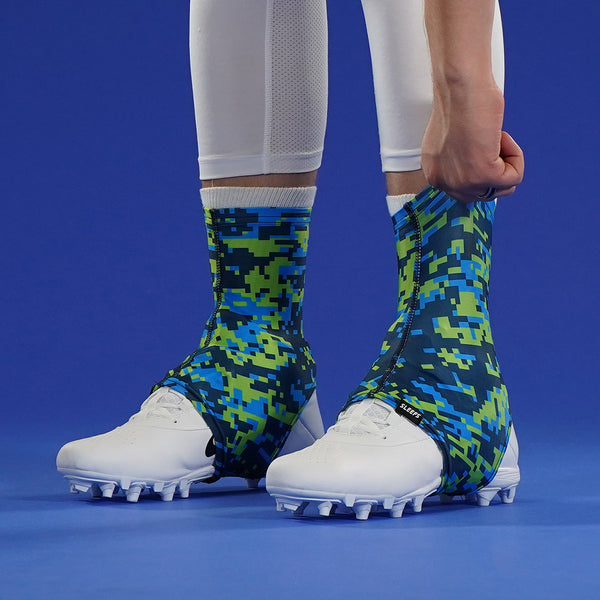 Digital Camo Navy Blue Green Spats / Cleat Covers
