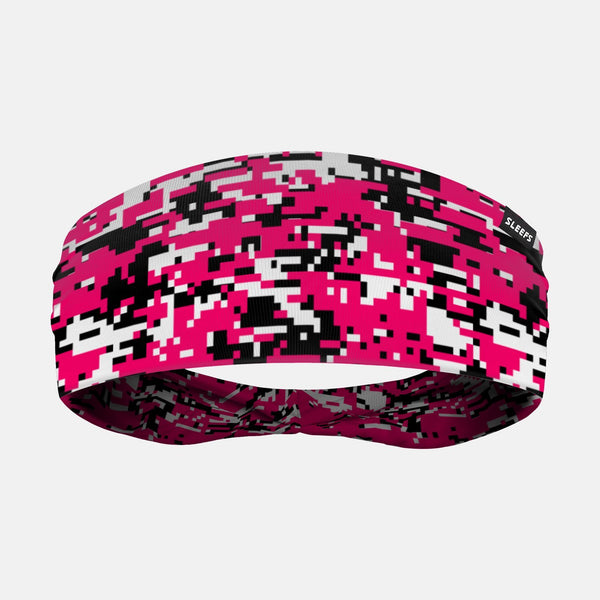 Digital Camo Pink Black White Headband