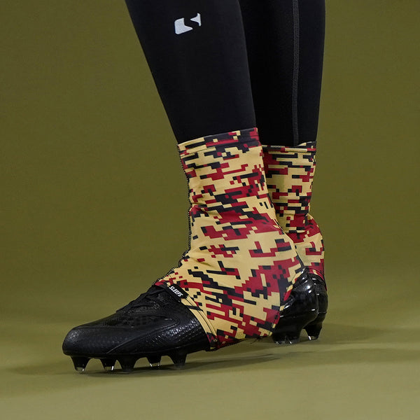 Digital Camo Vegas Gold Maroon Black Spats / Cleat Covers