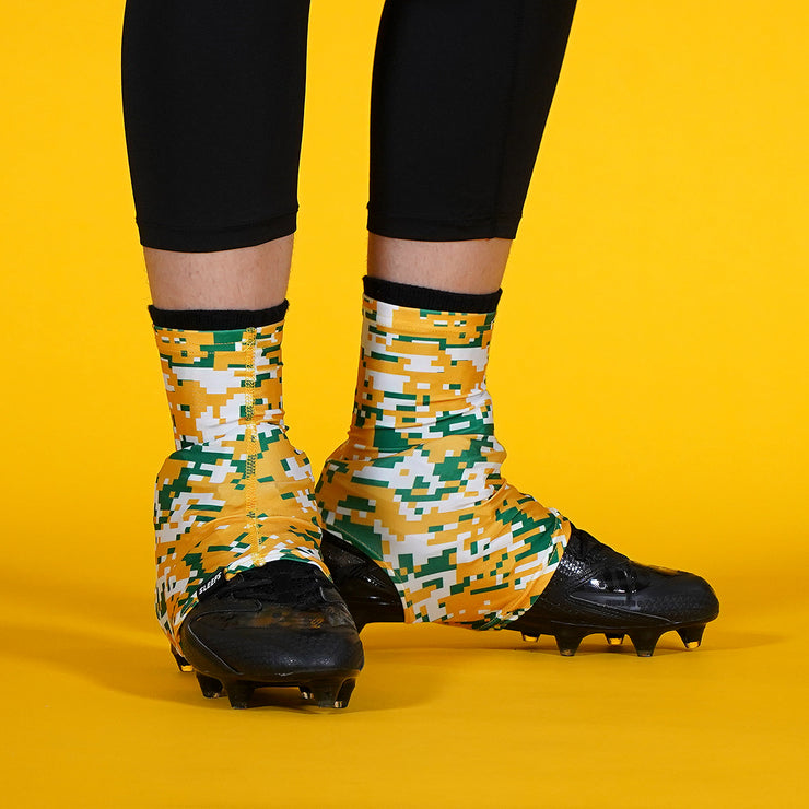 Digital Camo Yellow Green White Spats / Cleat Covers