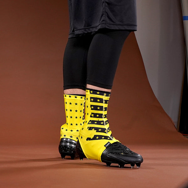 Disrupted USA Flag Yellow Spats / Cleat Covers