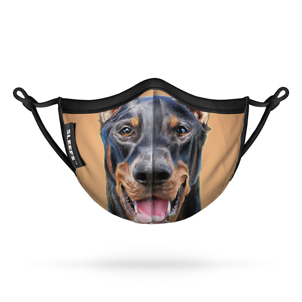 Dobermann Dog Kids Face Mask With Nose Shape