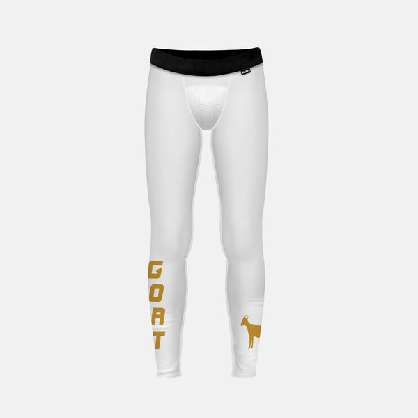 Goat Emoticon White Gold Tights for Kids
