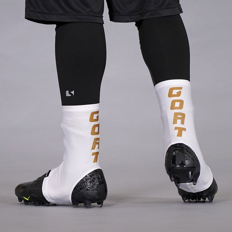 Goat Spell Out White Gold Spats / Cleat Covers