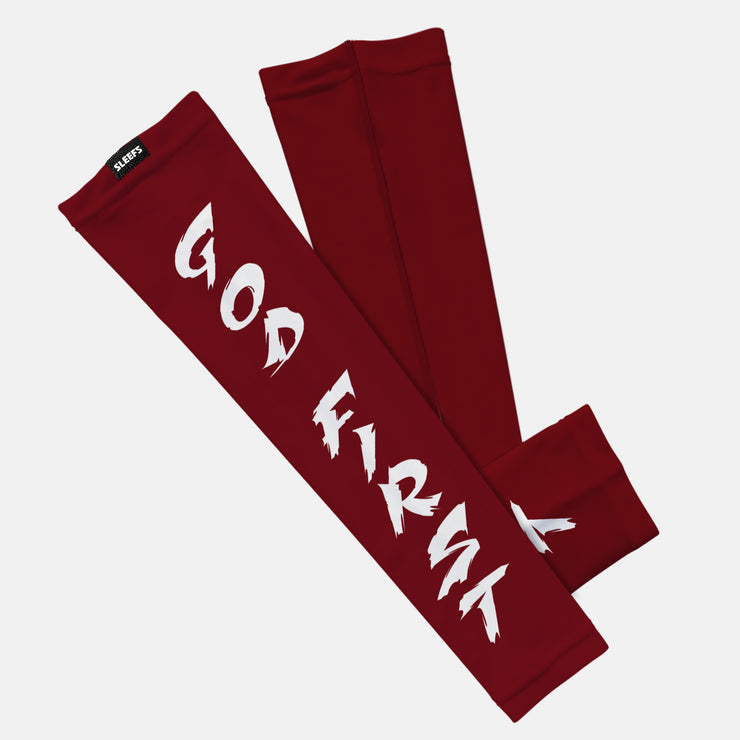 God First Spell Out Maroon White Kids Arm Sleeve