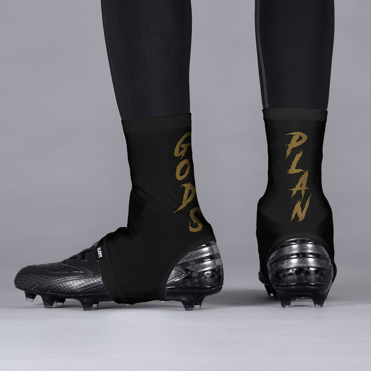 God's Plan Black Gold Spats / Cleat Covers