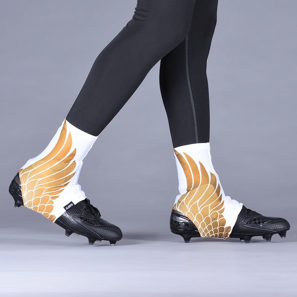 Icarus White and Gold Spats / Cleat Covers
