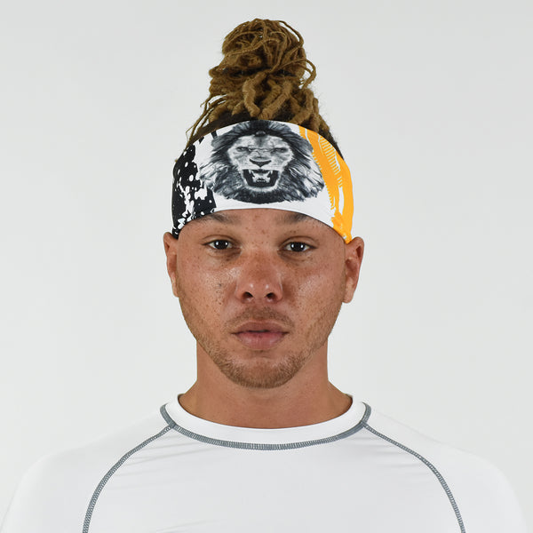 Lion Black White Yellow Headband