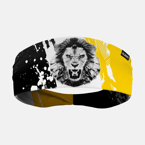 Lion Roar Black White Yellow Headband