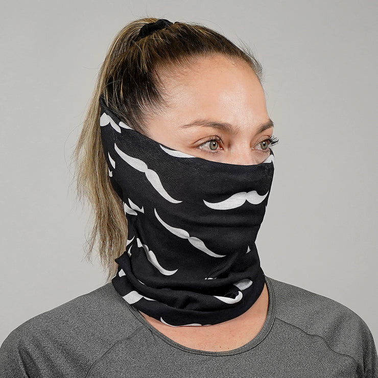 White Mustache Pattern Neck Gaiter