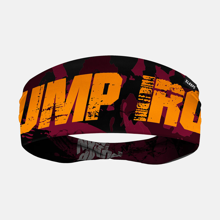 Pump Iron Maroon Yellow Double Sided Headband