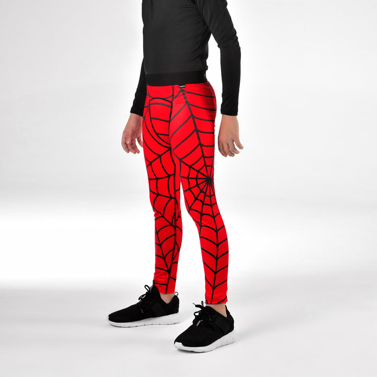 Red Web Pattern Tights for kids