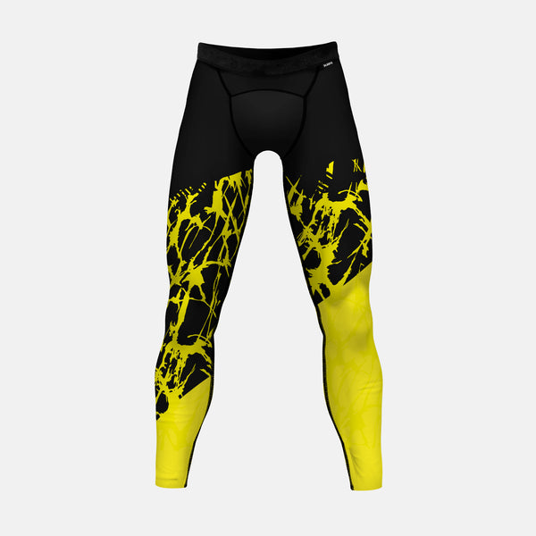 Ripped Black Yellow Tights for men