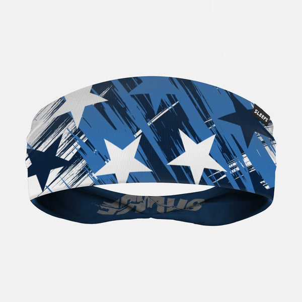 Savage Stars Navy Blue White Double Sided Headband