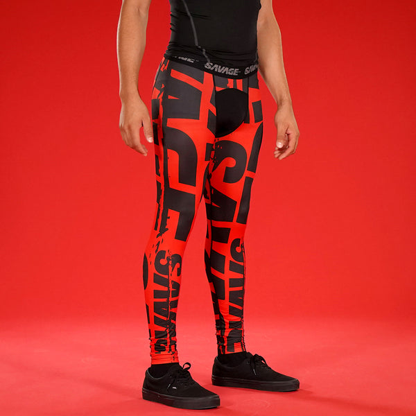 Savage Chroma Red Black Tights for Men