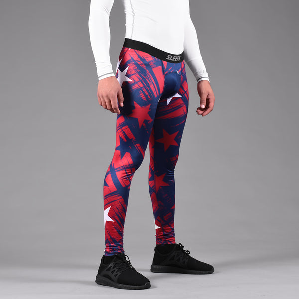 Stars Blue Red White Tights for men