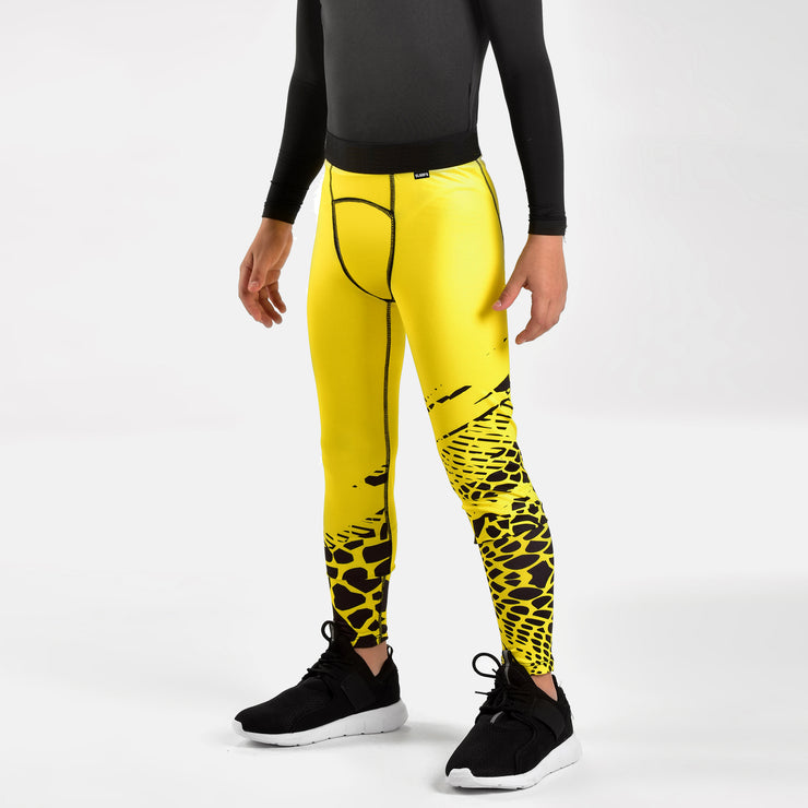 Snake Skin Yellow Black Tights for Kids
