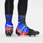 Splatter Red Blue Spats / Cleat Covers
