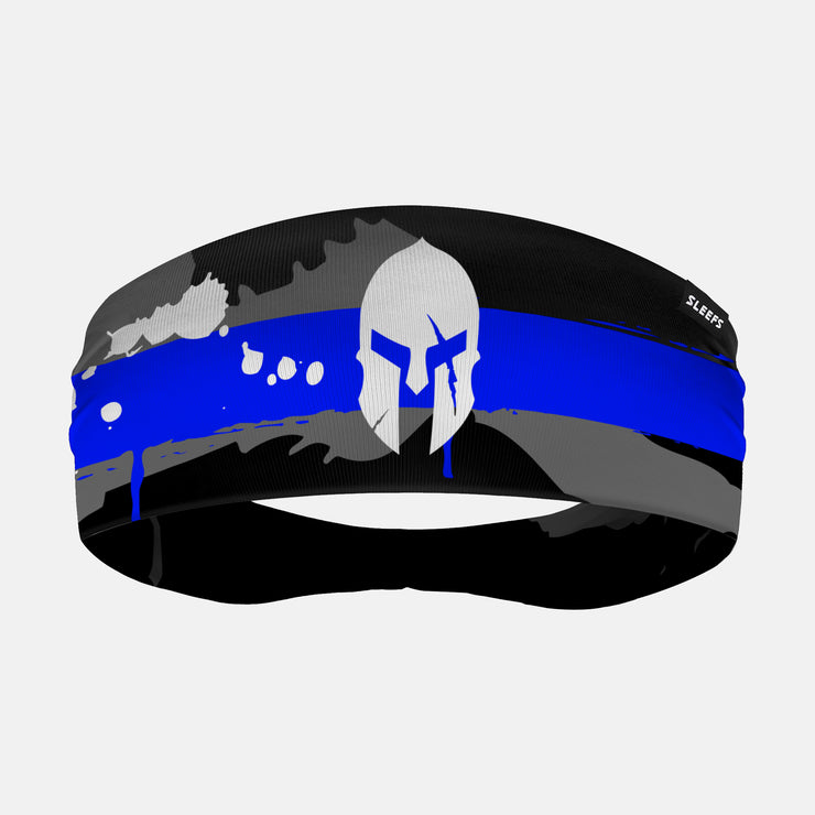 Ancient Helmet Splatter Thin Blue Line Headband