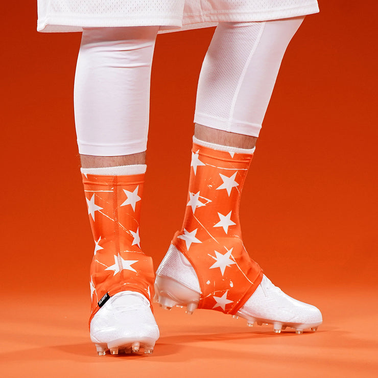 Stars Orange White Spats / Cleat Covers