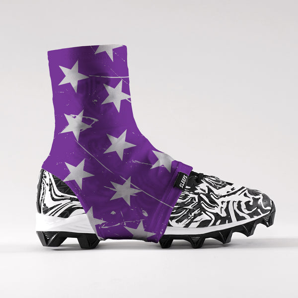 Stars Purple Gray Spats / Cleat Covers