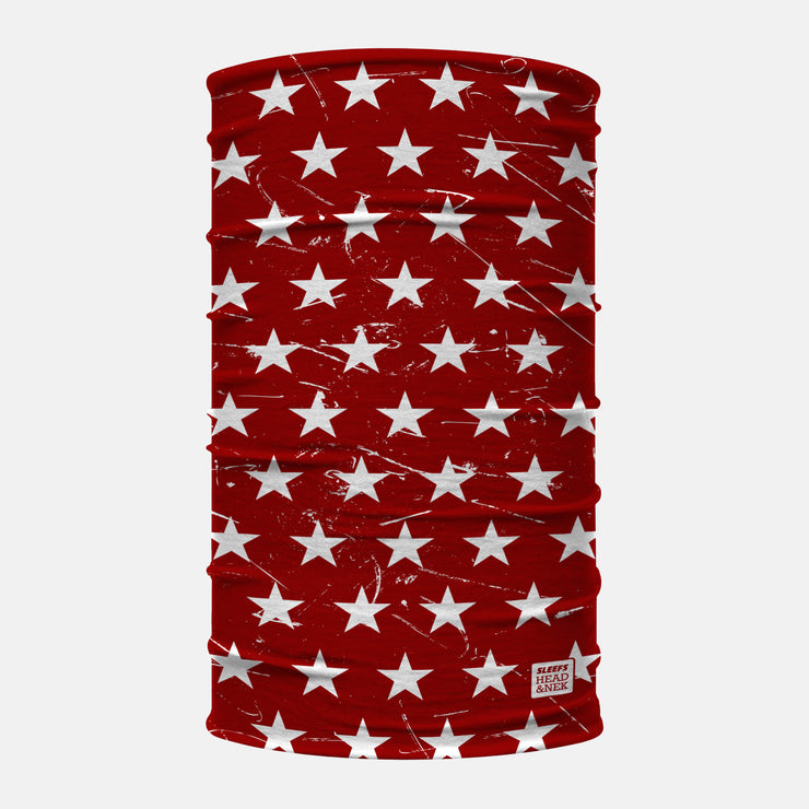 Stars Red and White Neck Gaiter
