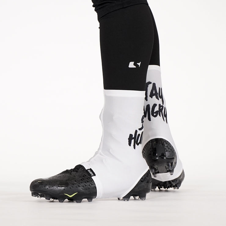 Stay Hungry White Spats / Cleat Covers