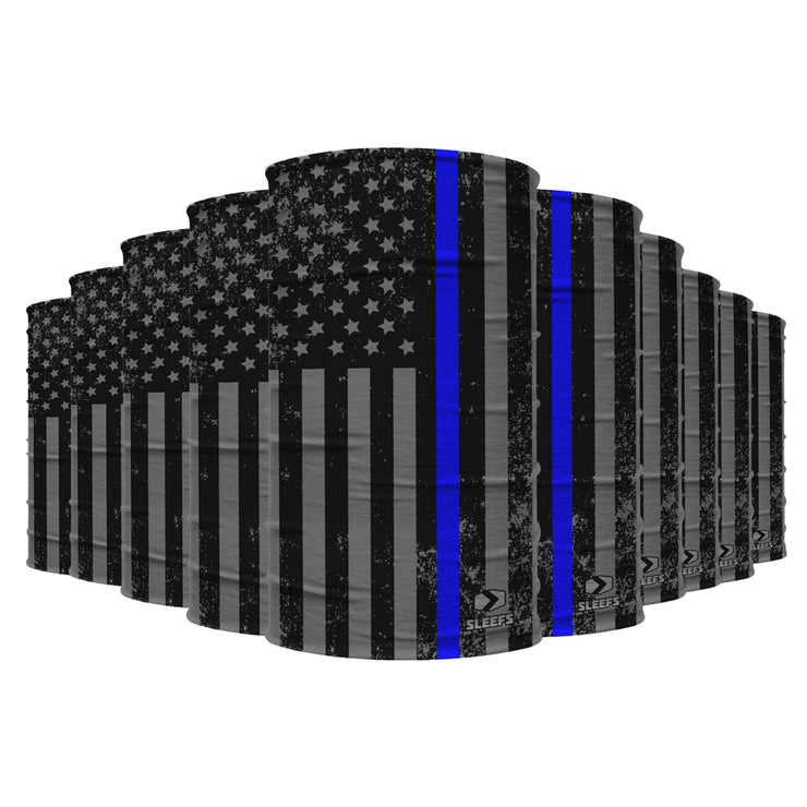 10 Pack Tactical Thin Blue Line USA Flag Neck Gaiter