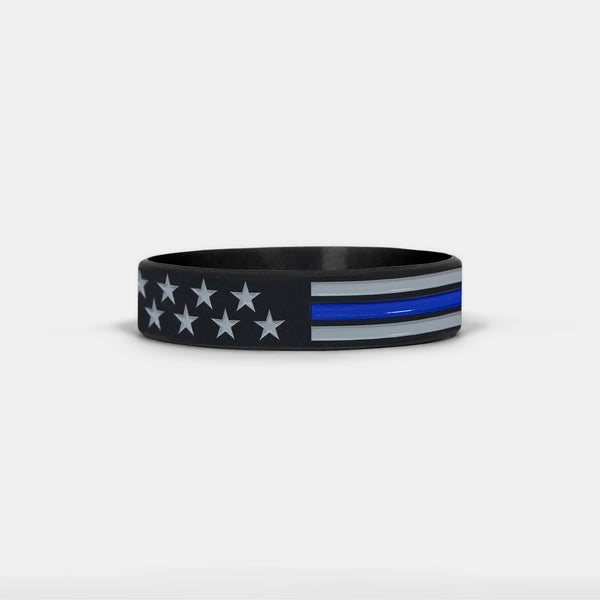 Tactical Thin Blue Line USA Flag Kids Motivational Wristband