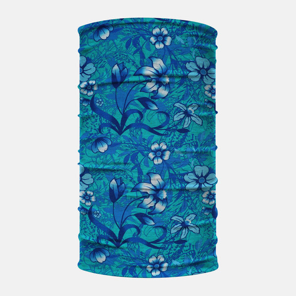 Teal Flowers Neck Gaiter