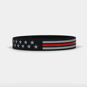 Tactical Thin Red Line USA Flag Motivational Wristband