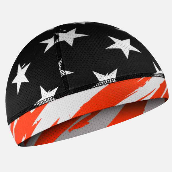 Tryton Usa Orange-red Black and White Skull Cap