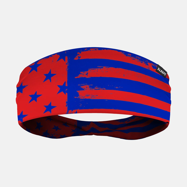 USA Brushed Blue Red Headband