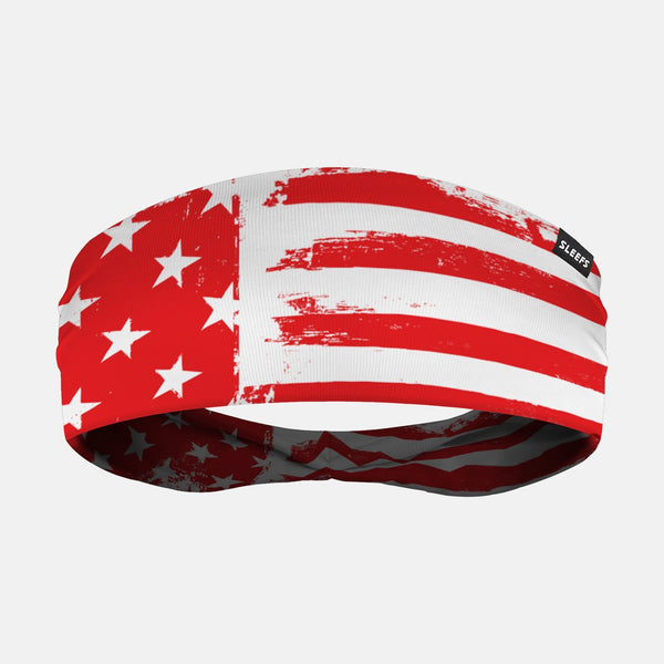 USA Brushed White Red Headband